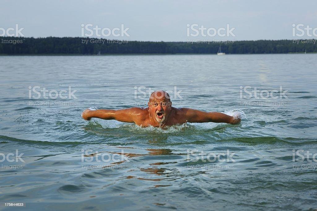 Swimmer, senior man swimming royalty-free stock photo