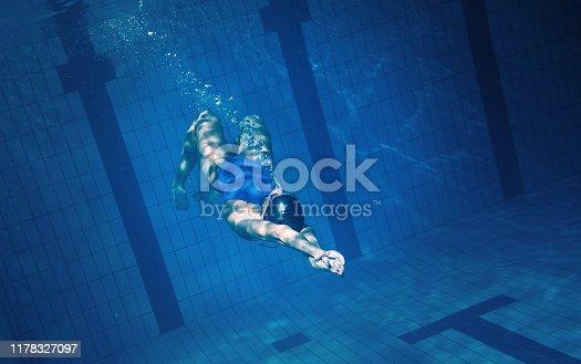 177281231istockphoto Swimmer woman underwater 1178327097