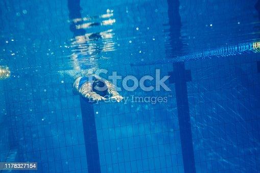 177281231istockphoto Swimmer woman underwater 1178327154