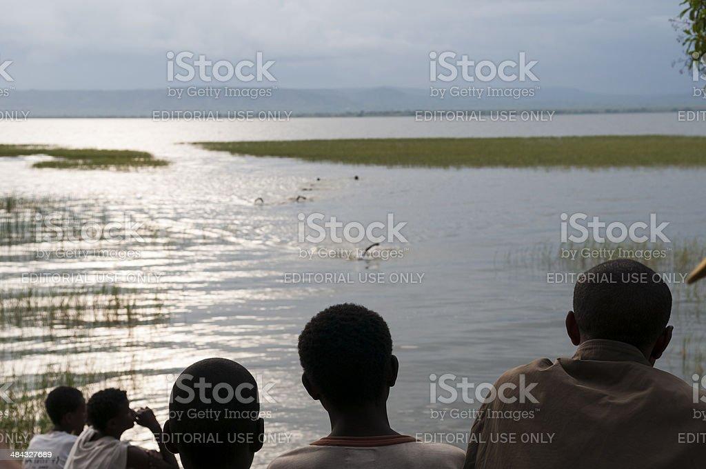 Swimmers and spectators - Ethiopia stock photo