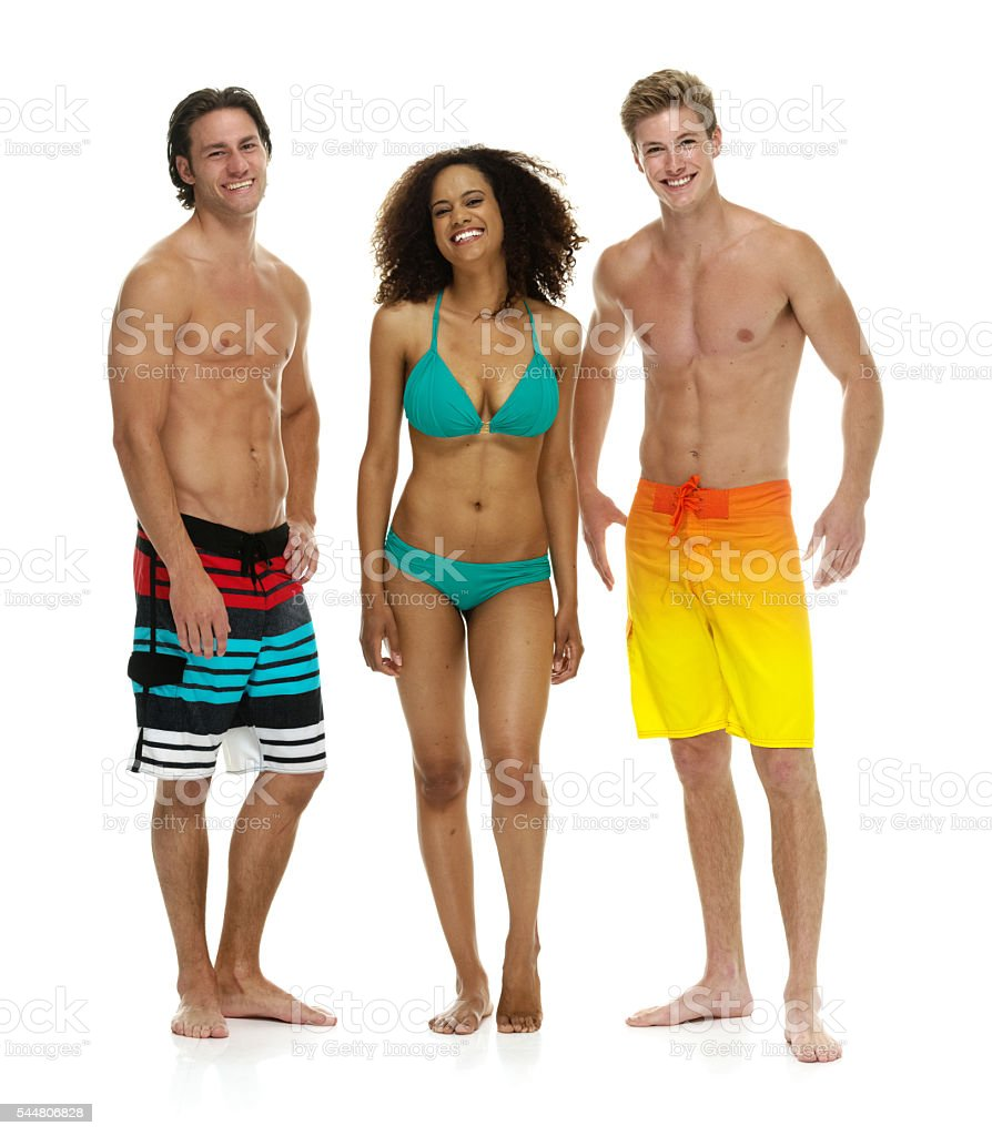 Swimmers standing together stock photo