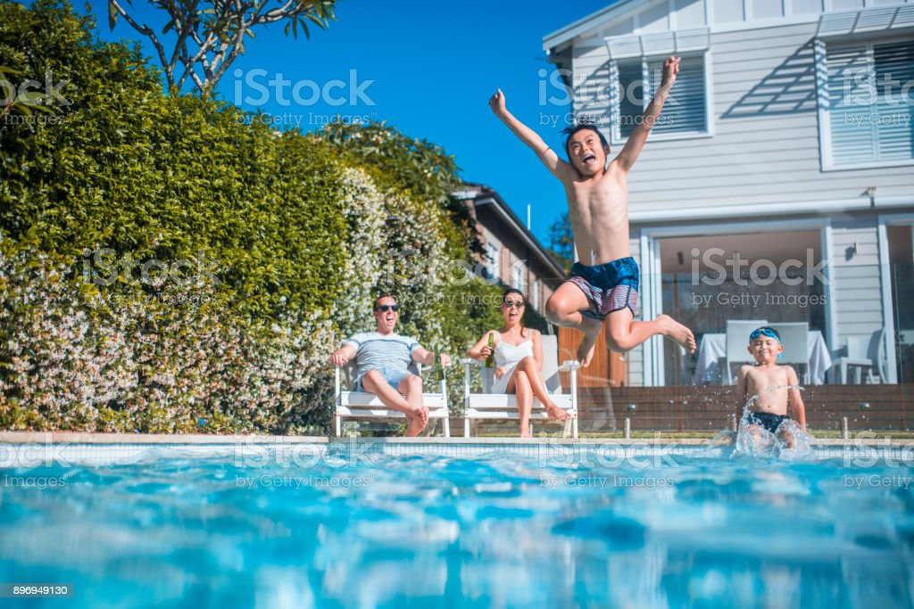 Swimming and having fun stock photo