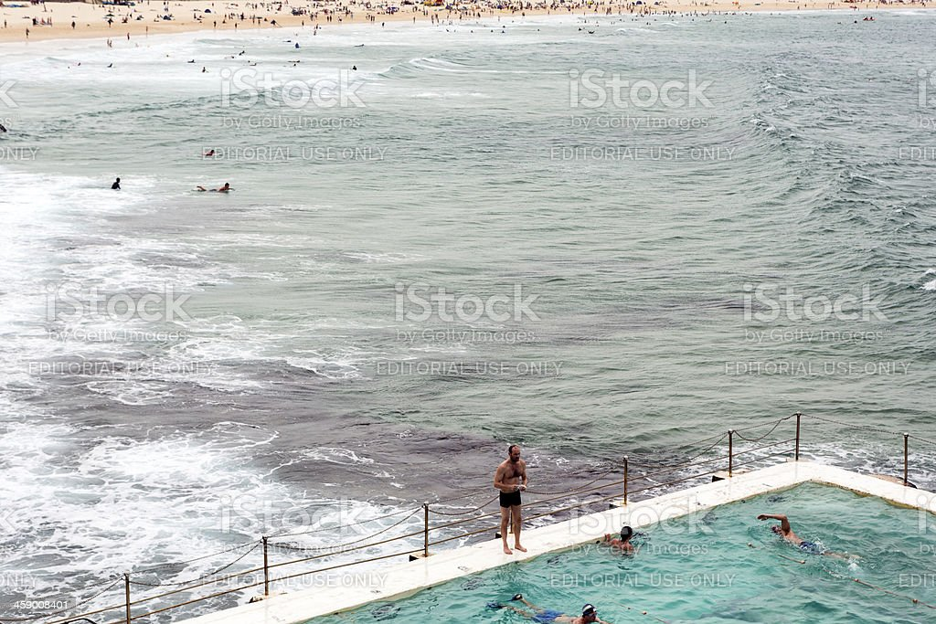 Swimming at Bondi stock photo