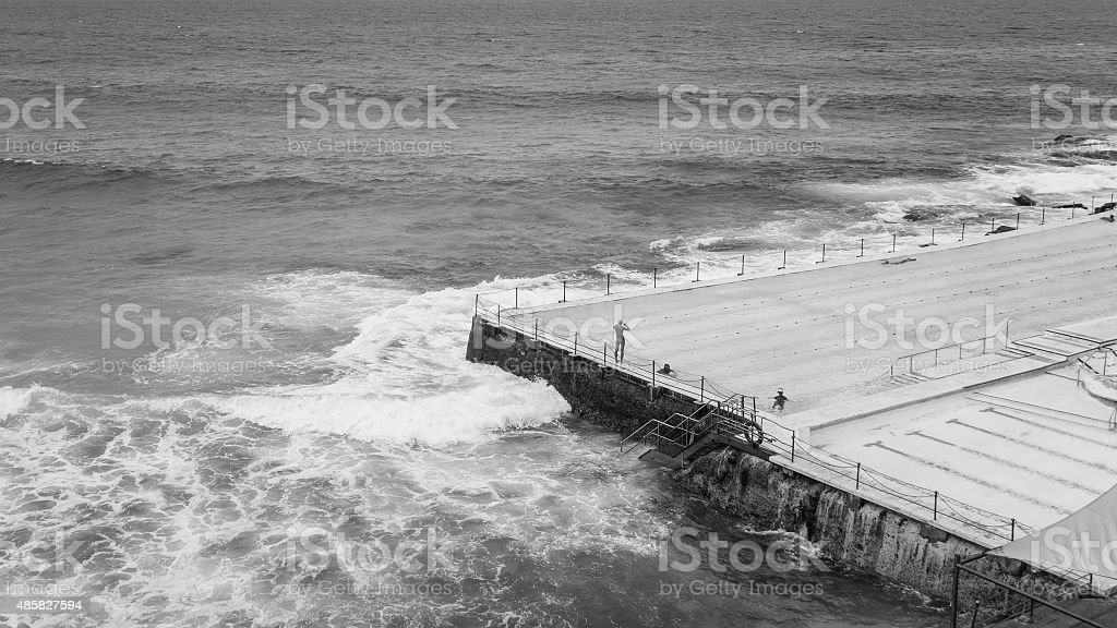 swimming at icebergs at bondi beach in australia sydney stock photo