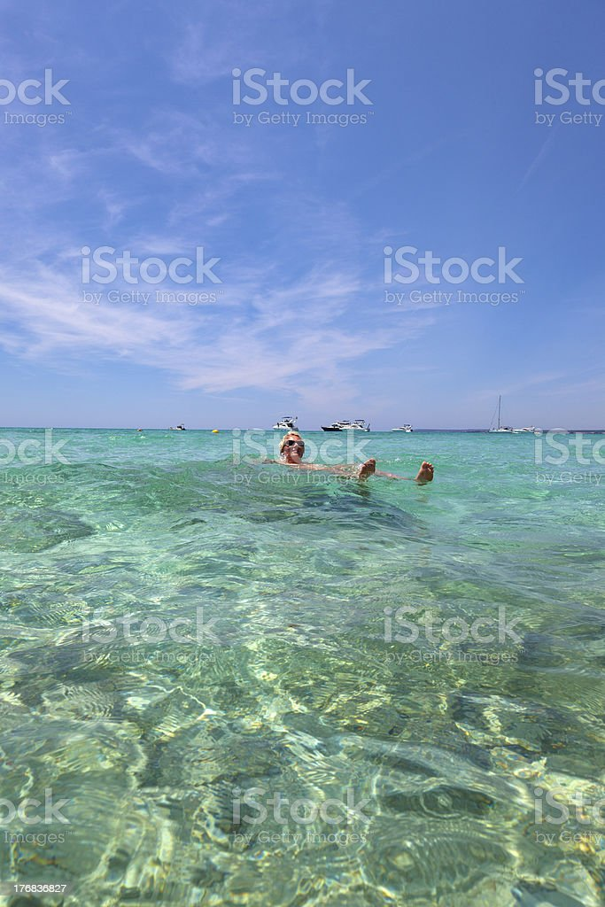 Swimming At The Beautiful Beach Of ES TRENC. royalty-free stock photo