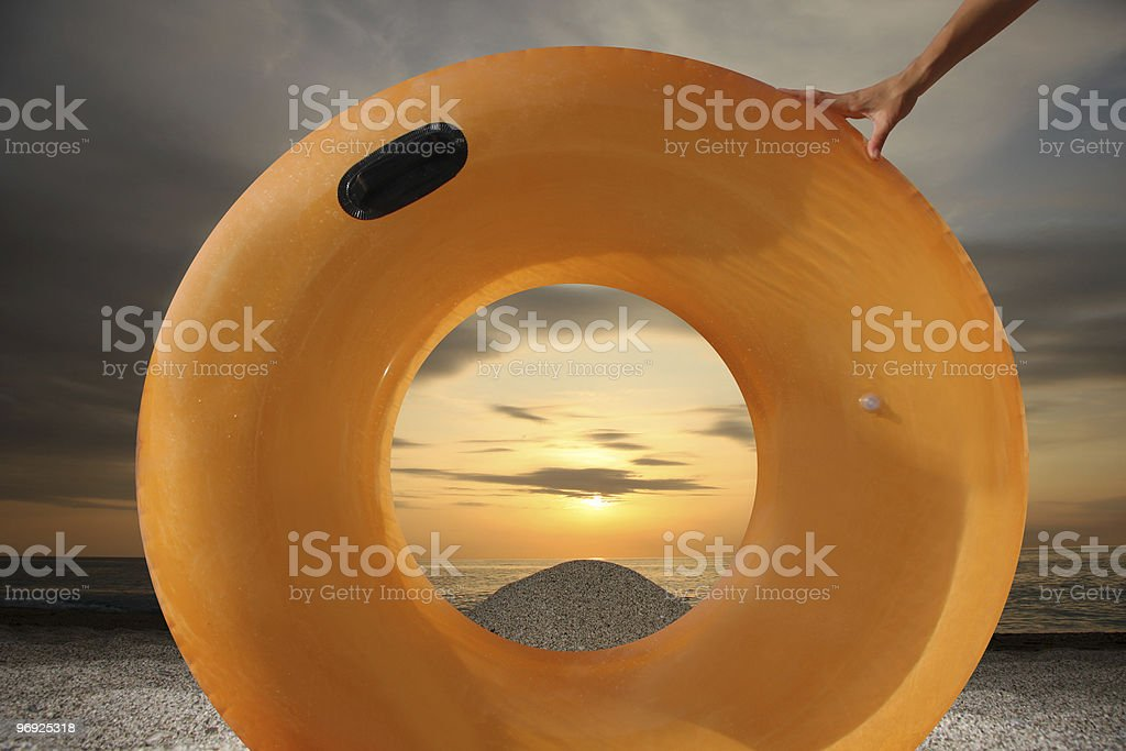 swimming belt in touch on the beach royalty-free stock photo