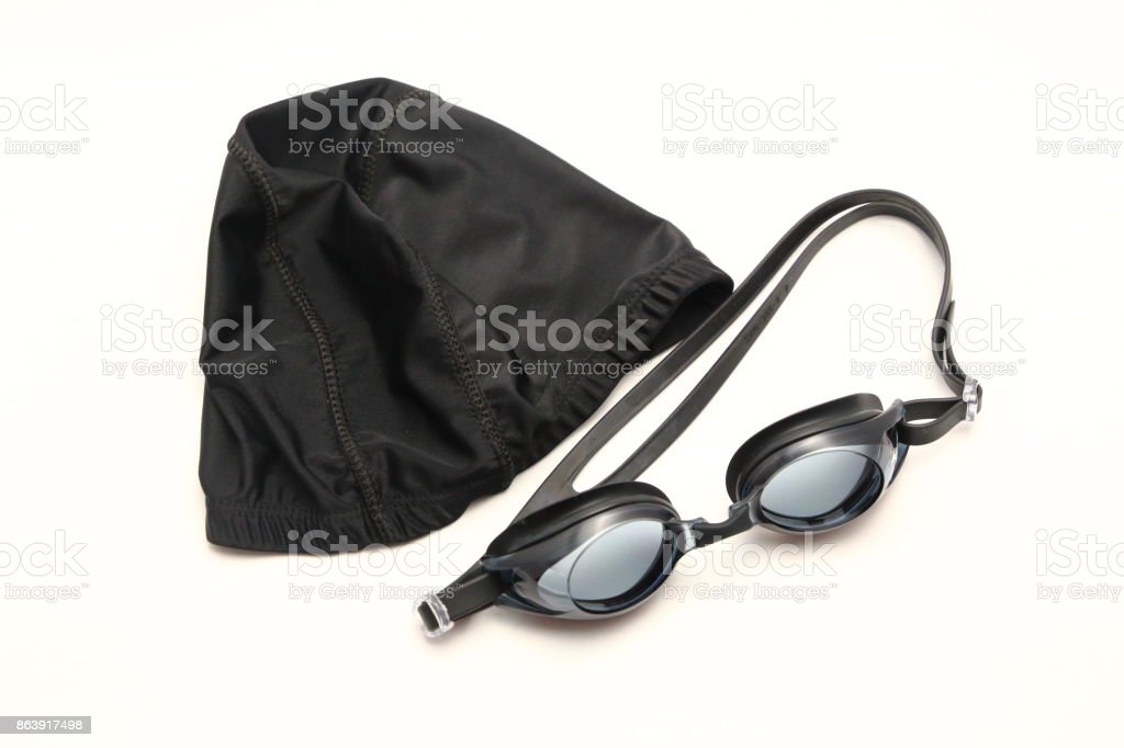 Yüzme kap ve gözlük. stok fotoğrafı