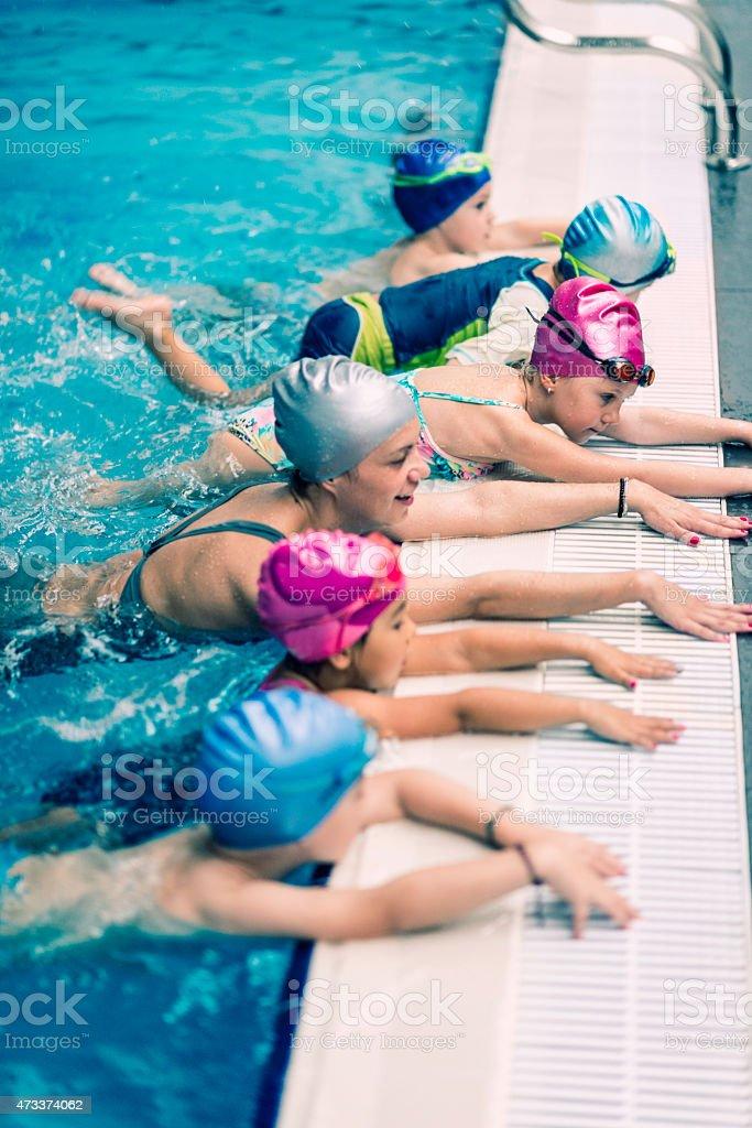 Swimming class stock photo