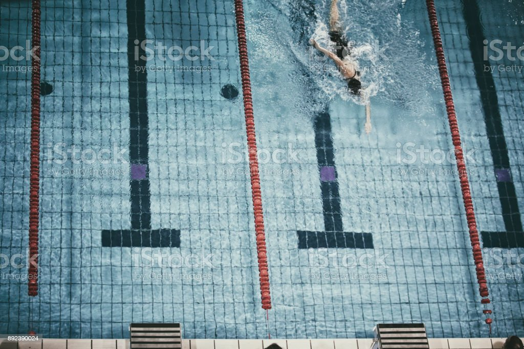 Swimming competition freestyle stock photo