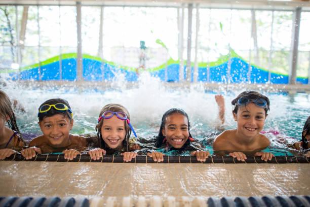 Swimming Group stock photo