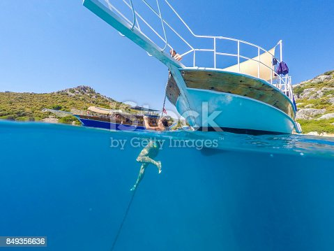 istock Swimming in clean water. Kekova bay from Antalya / Turkey. 849356636