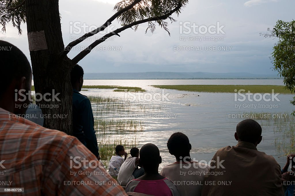 Swimming in Lake Awasa, Ethiopia stock photo