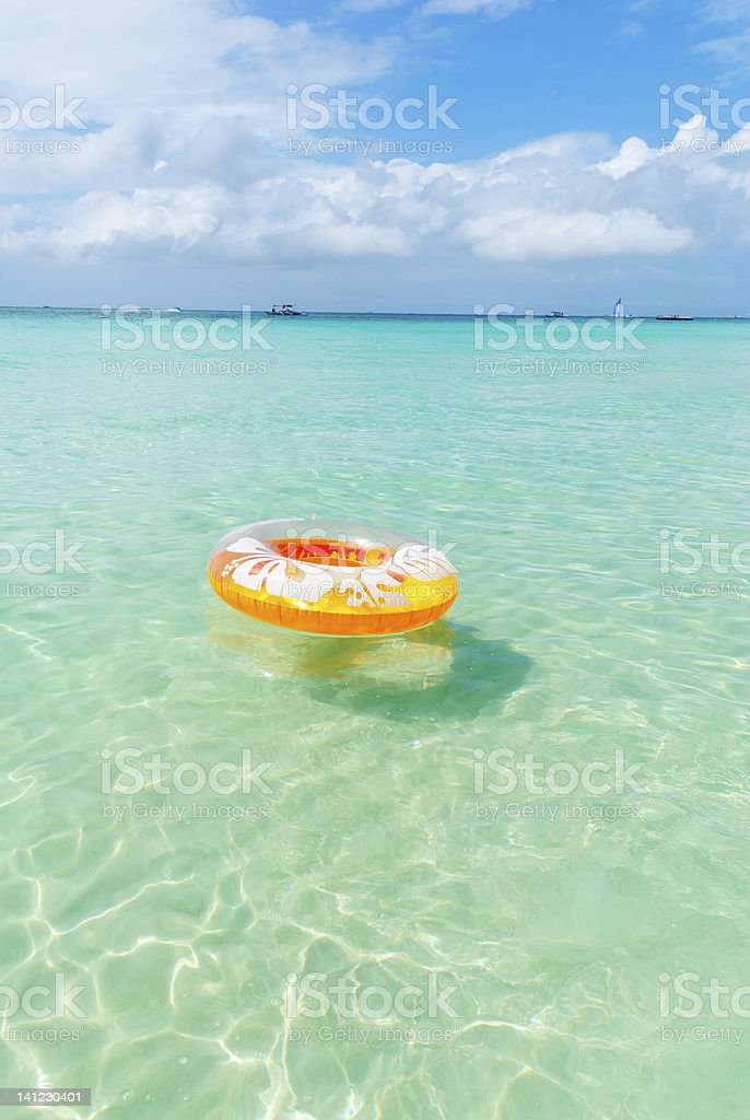 Swimming in the sea circle royalty-free stock photo