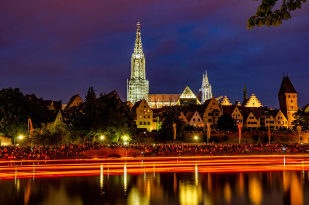 swimming lights at Night Lichterserenade 2018 in Ulm Germany swimming lights at Night Lichterserenade 2018 in Ulm Germany ulm stock pictures, royalty-free photos & images