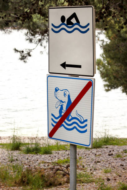 Swimming Permitted sign. No dog allowed sign on sea beach. No dog sign and pets. Forbidden symbol allowed sign prohibited dogs. Signs are allowed for swimming, Sing of banned access to dogs. stock photo
