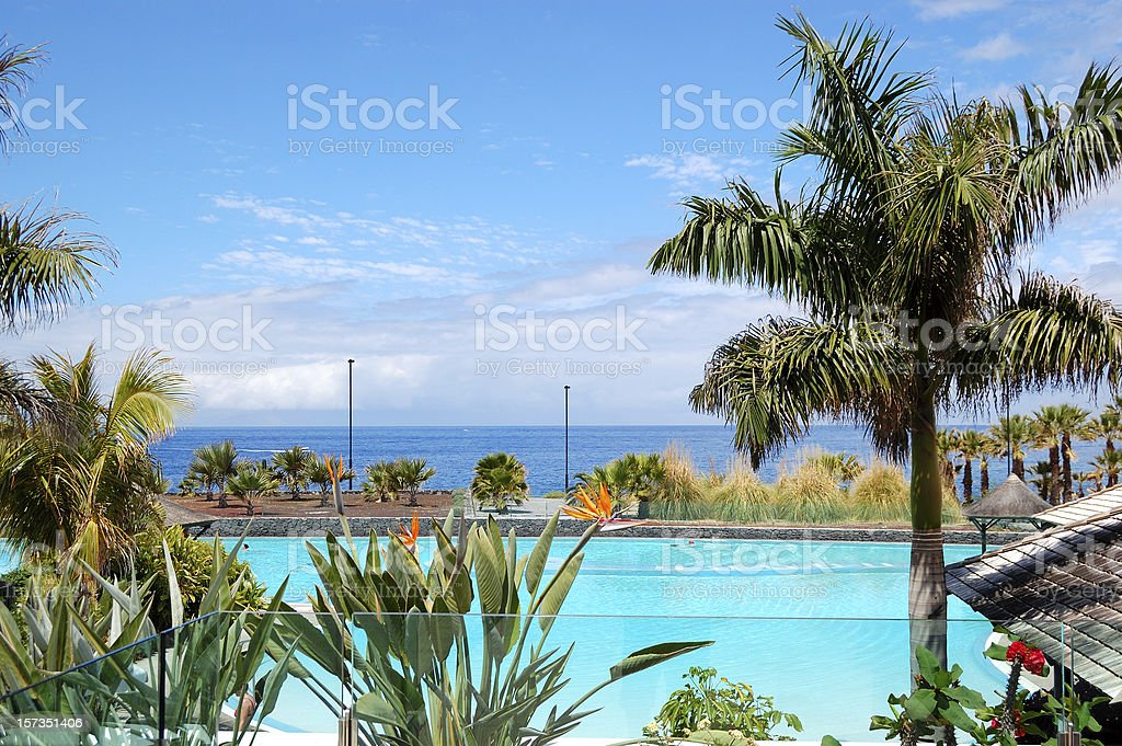 Swimming Pool And Beach At Luxury Hotel Tenerife Island Spain Stock