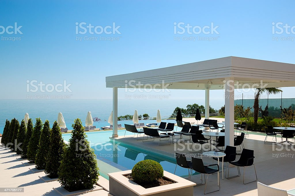 Swimming Pool And Outdoor Restaurant At Modern Luxury Hotel Stock Photo Download Image Now Istock
