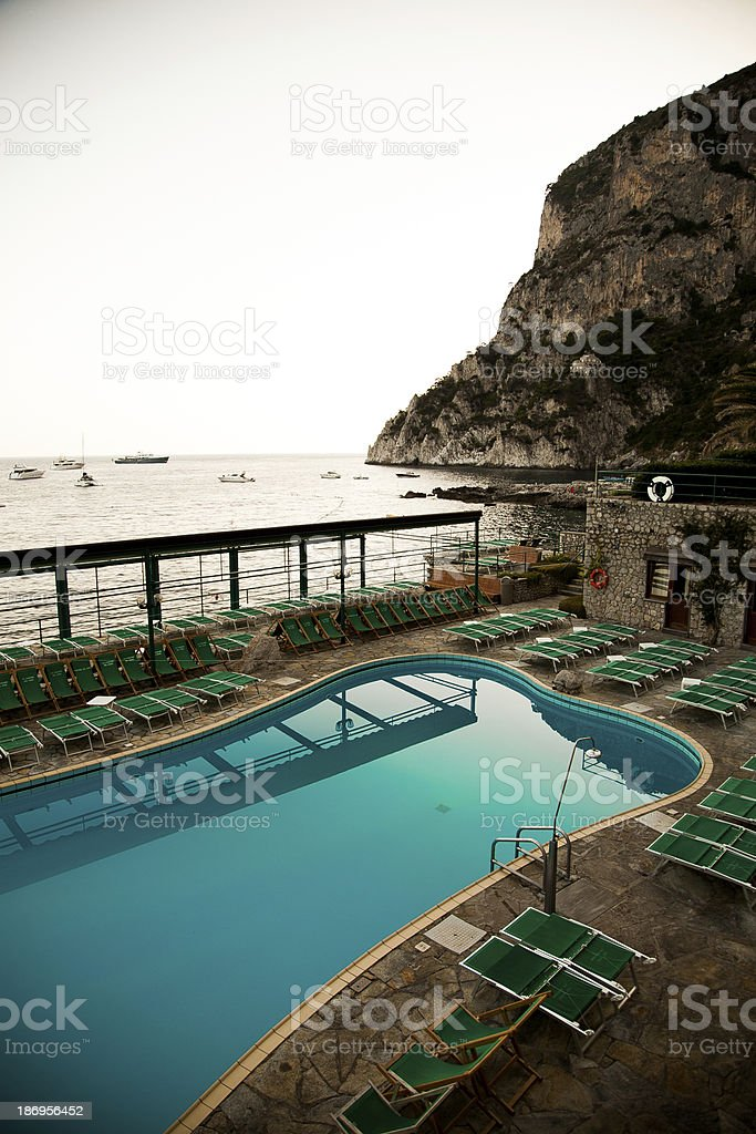 swimming pool and the sea stock photo