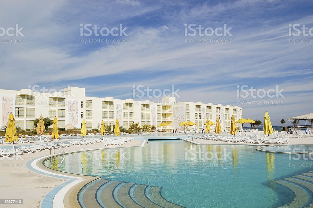 Swimming pool area at hotel in Sharm el Sheikh, Egypt royalty-free stock photo