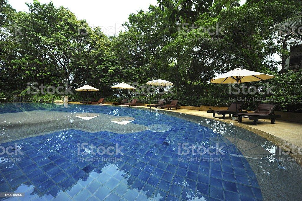 swimming pool at a tropical resort. royalty-free stock photo