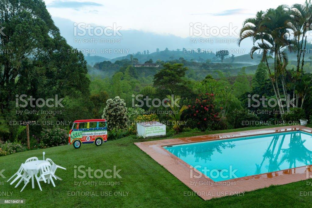 Swimming Pool at Dawn stock photo