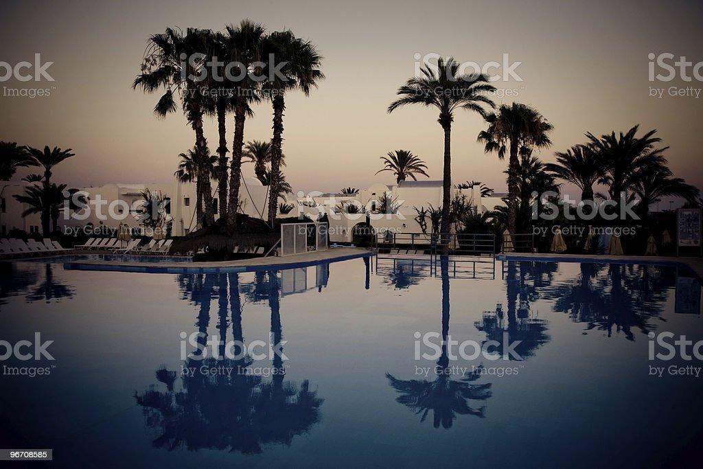 swimming pool at evening, Djerba, Tunisia stock photo