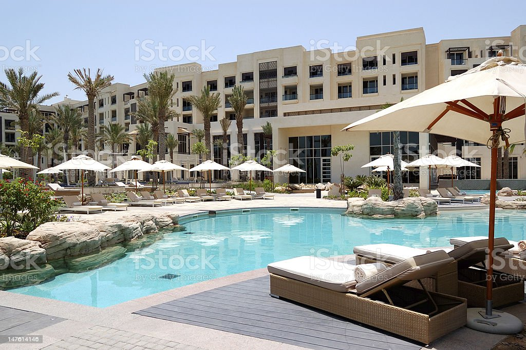 Swimming pool at luxury hotel, Saadiyat island, Abu Dhabi, UAE stock photo