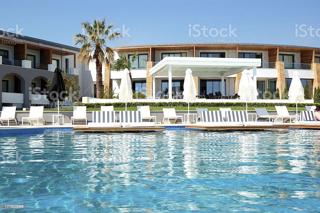 Swimming pool at modern luxury hotel, Pieria, Greece royalty-free stock photo