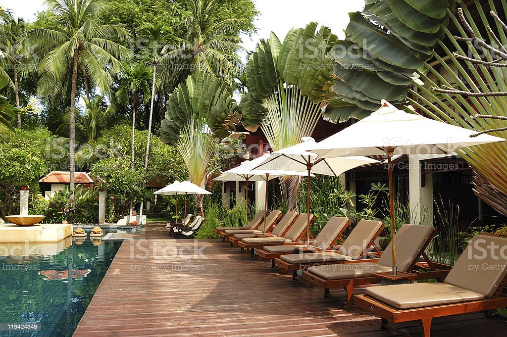 Swimming pool at modern luxury villa, Samui island, Thailand royalty-free stock photo