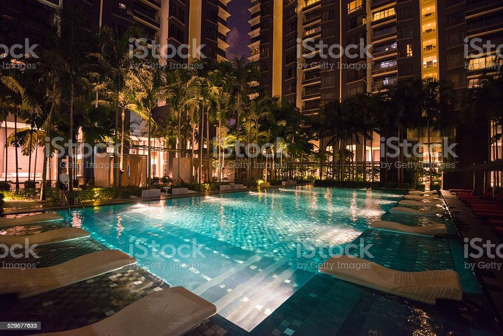 Swimming pool at night in kuala lumpur stock photo more - Homestay in kuala lumpur with swimming pool ...