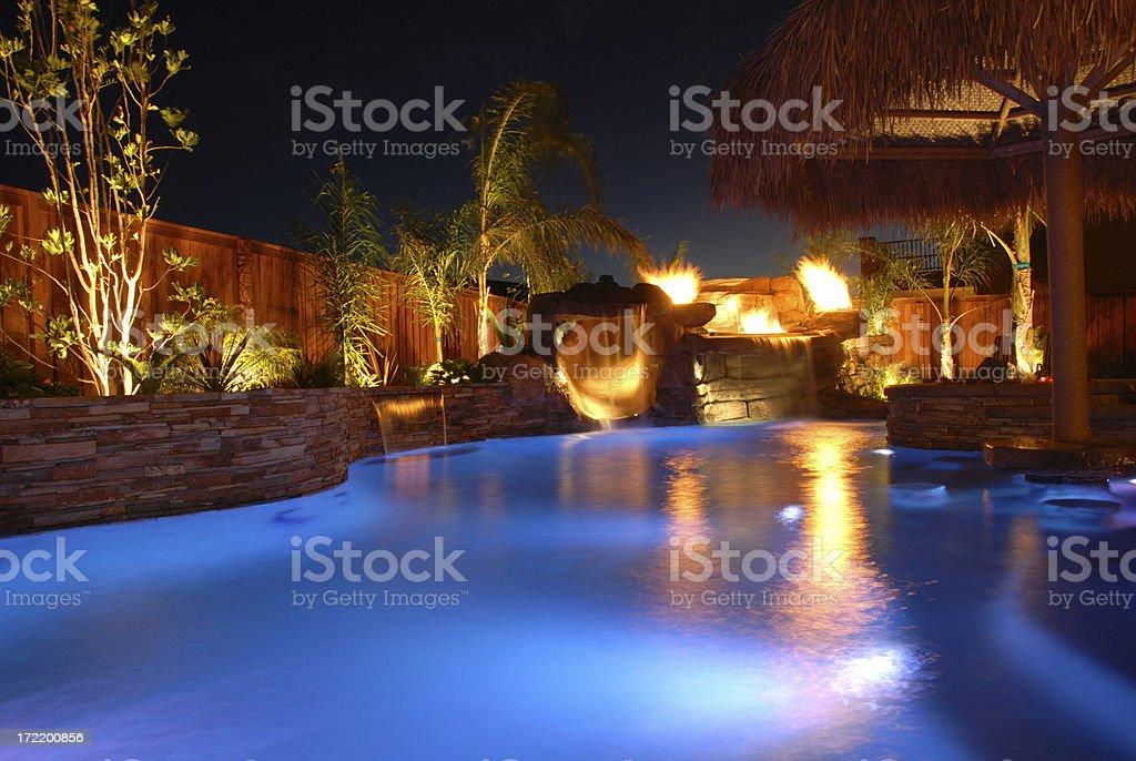 Swimming Pool at Night royalty-free stock photo