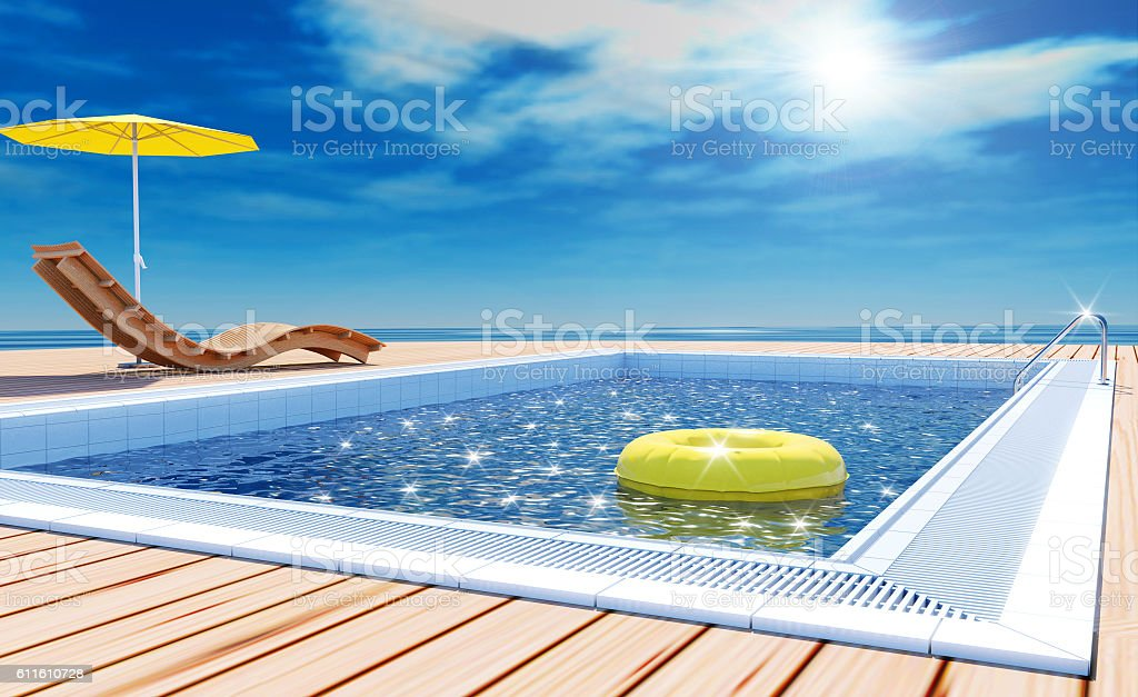 Swimming pool beach lounger on sun deck with sea view – Foto