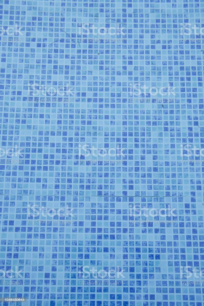 Swimming Pool Bottom Close Up View Of Blue Mosaic Tiles In The Pool Blue  Abstract Ceramic Tile Texture And Background For Design Stock Photo - ...
