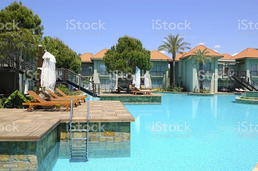 Swimming pool by VIP villas, Antalya, Turkey royalty-free stock photo