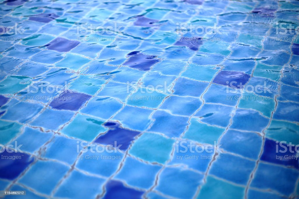 Swimming Pool Ceramic Tiles Covered In Clear Water Stock ...