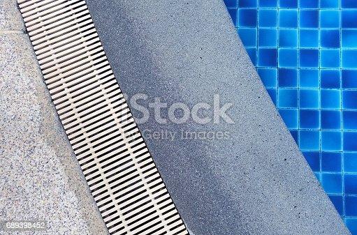 istock Swimming pool edge with drain 689398452