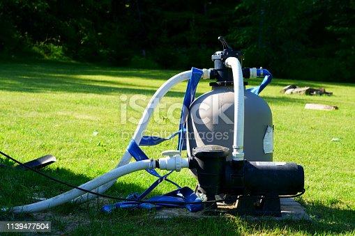 istock Swimming pool filter engine. 1139477504