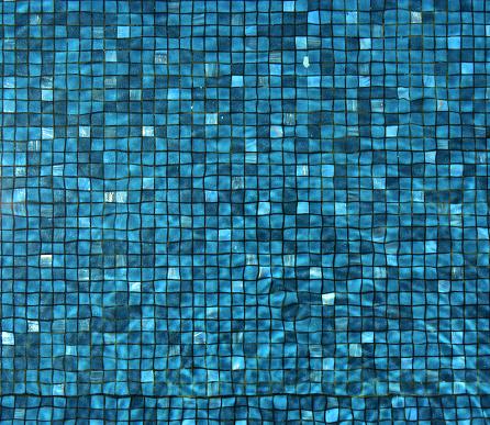 Swimming Pool Floor Blue Tiles Mosaic Background Stock