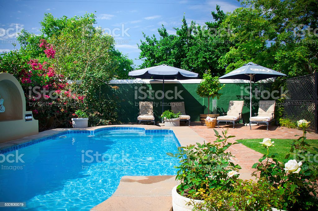 Swimming pool garden stock photo