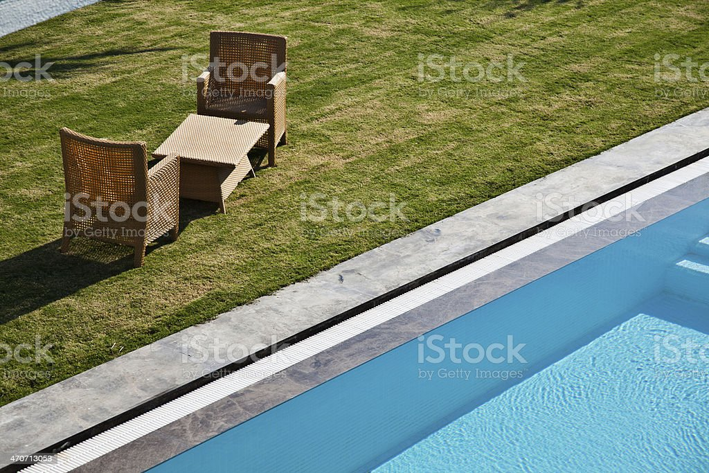 swimming pool in a backyard royalty-free stock photo