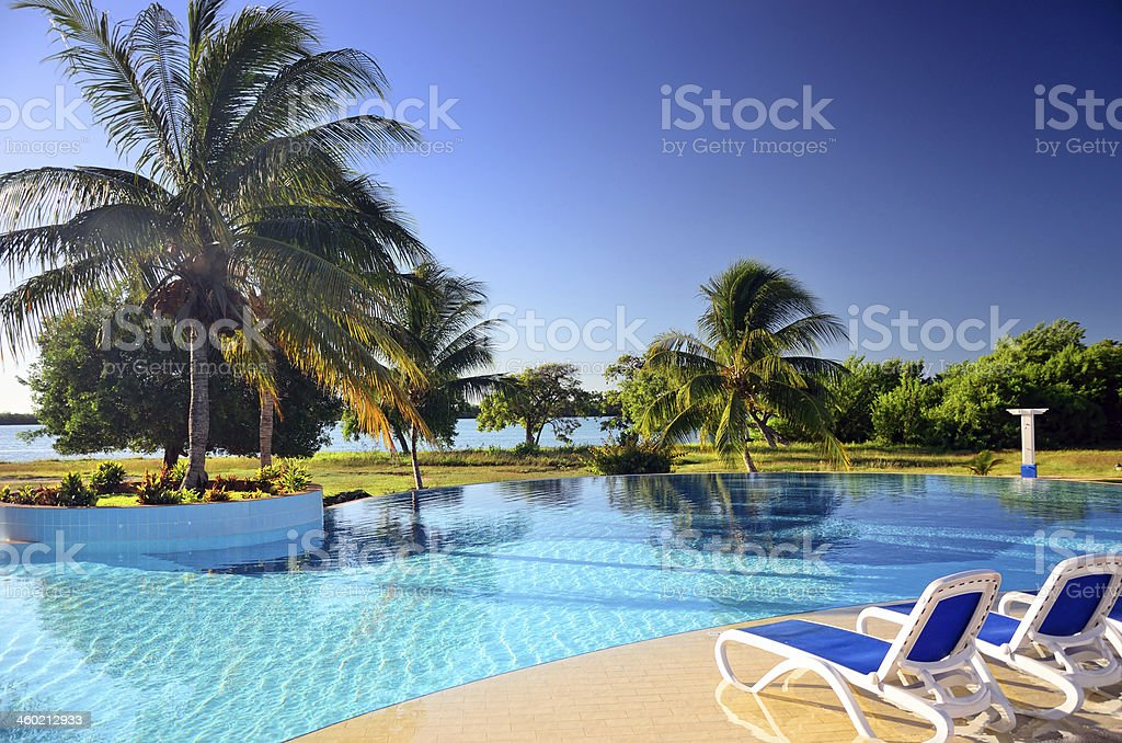 Swimming pool in a Caribbean resort stock photo