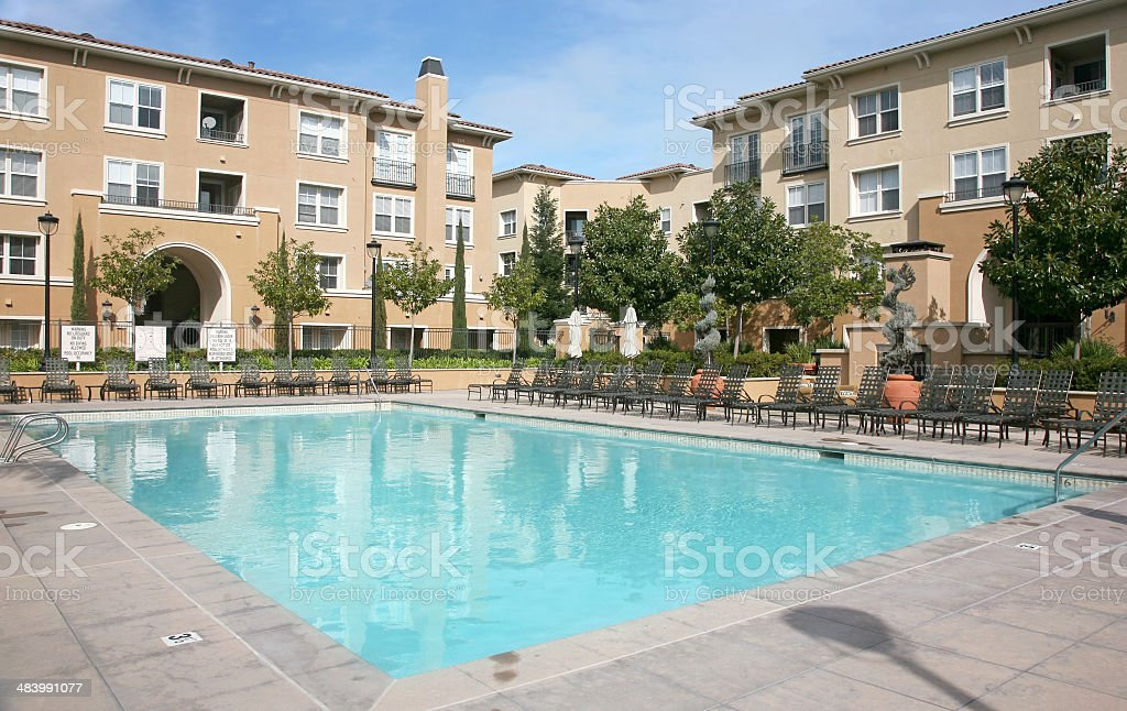 Swimming Pool In Apartment Complex royalty-free stock photo