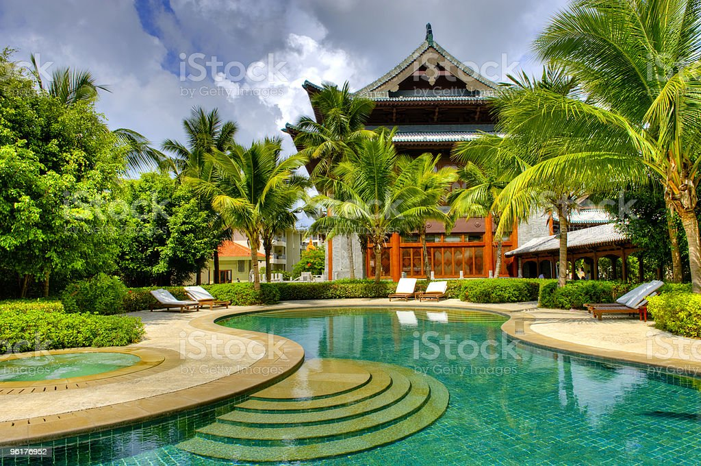 Swimming Pool in front of Chinese style buidling stock photo