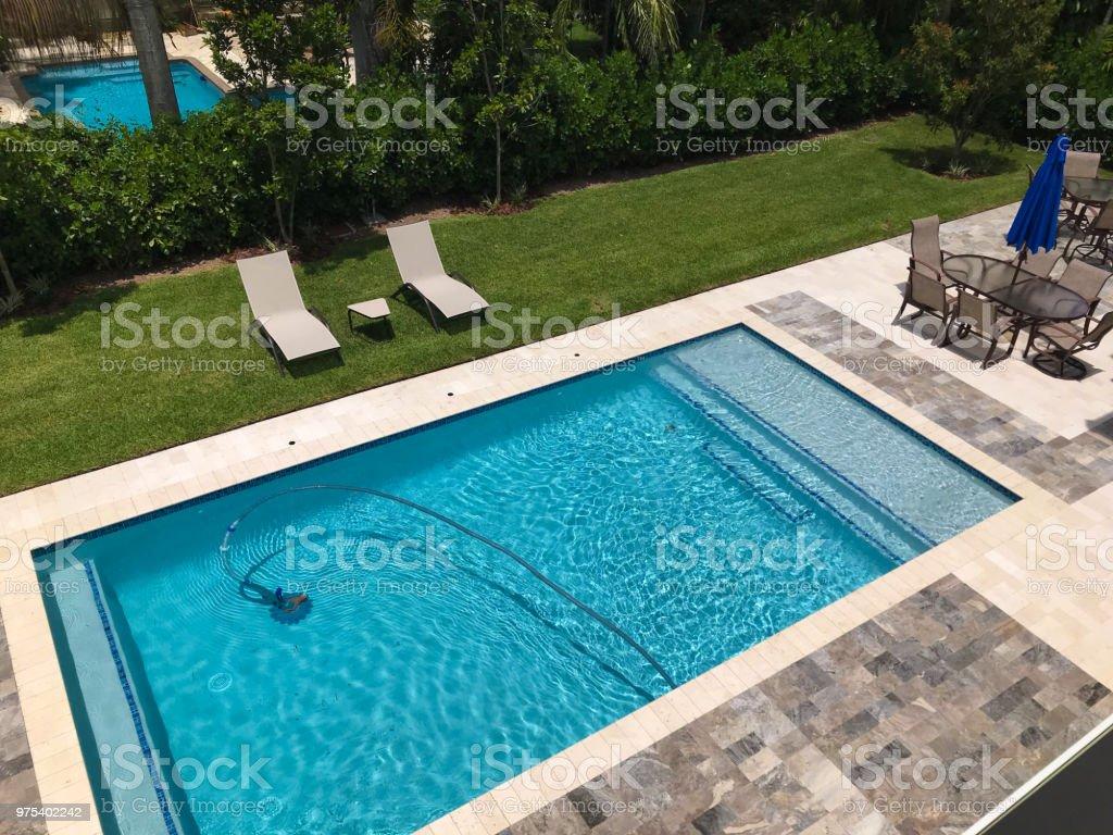 Patio furniture and swimming pool in the backyard