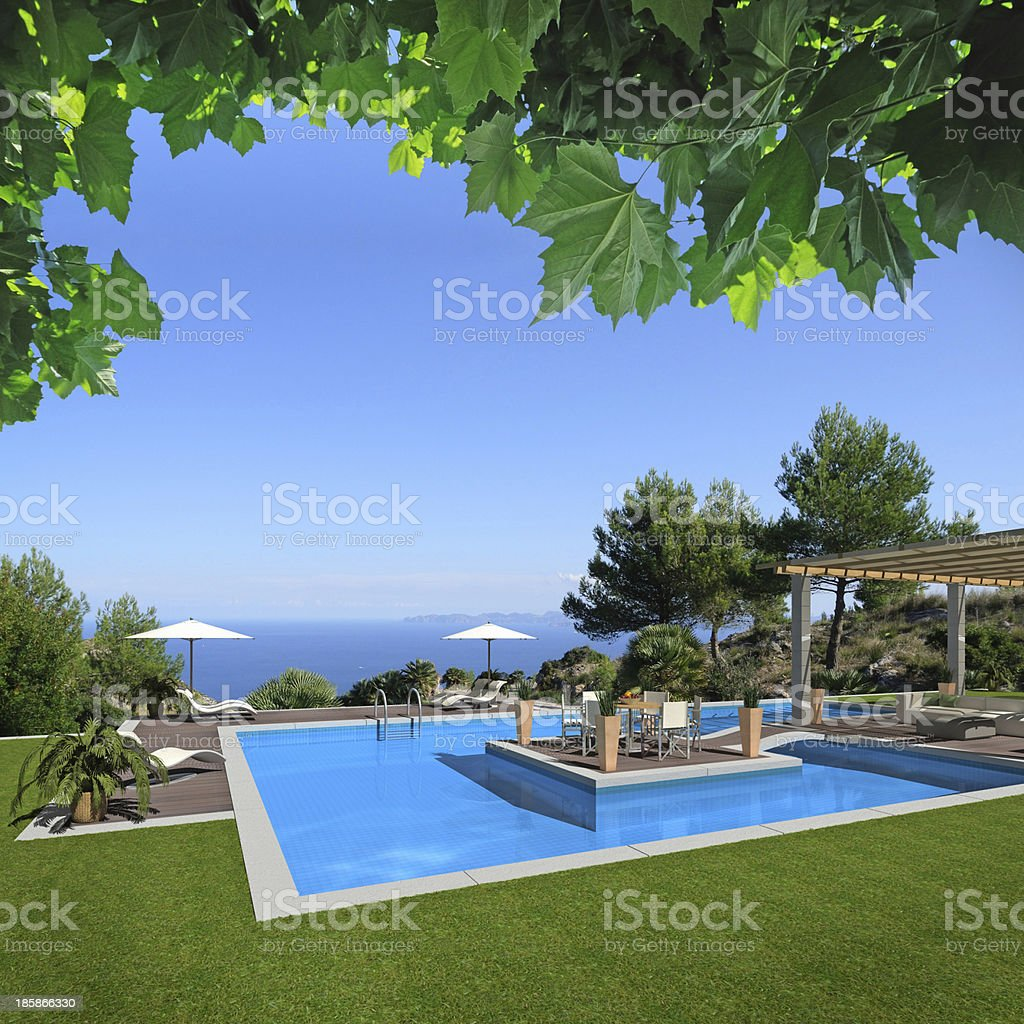 Swimming pool in the garden royalty-free stock photo
