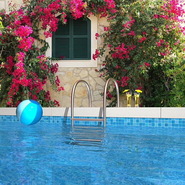 swimmingpool im garten - ferienwohnung kroatien privat stock-fotos und bilder