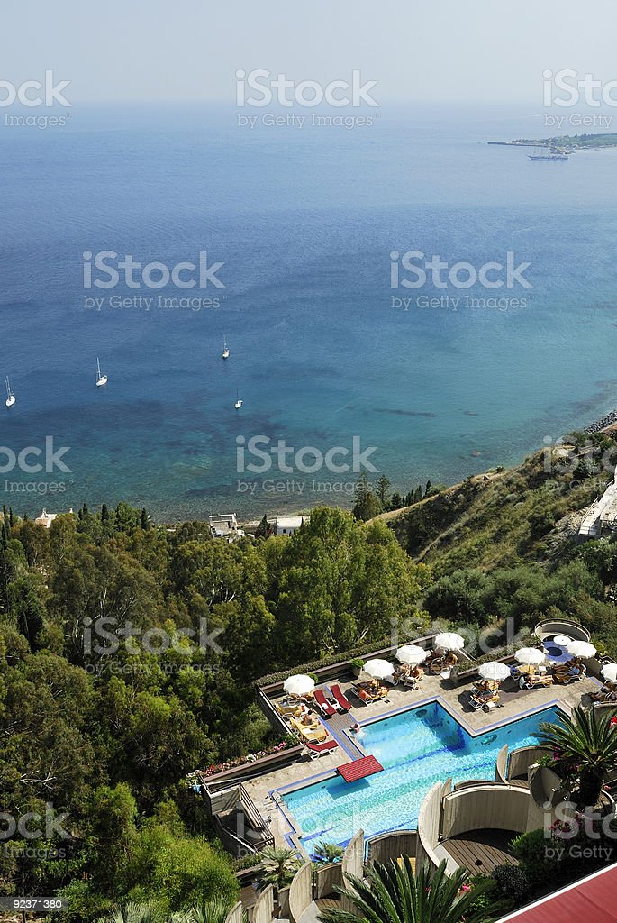 Swimming pool in the Naxos bay royalty-free stock photo