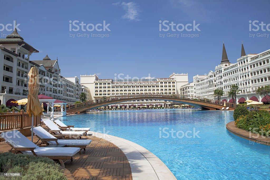 Swimming pool § Luxury hotel royalty-free stock photo