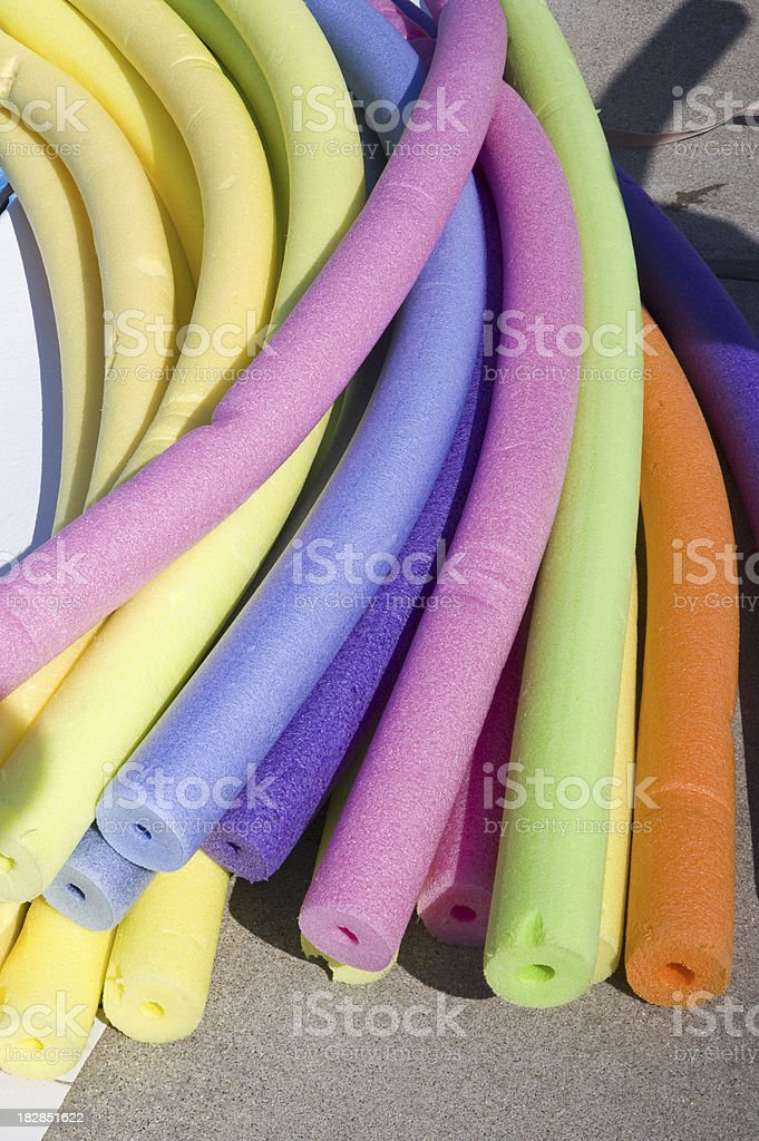 Swimming pool noodles stock photo