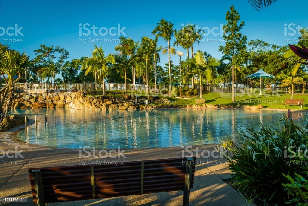 Swimming Pool Of Bluewater Lagoon In Mackay Queensland Stock Photo ...